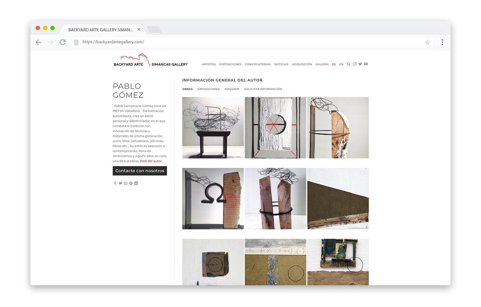Web BACKYARD ARTE - LOOP - Diseño Web - Paginas web - Valladolid
